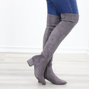 Pointy Toe Over The Knee Gray Boots Faux Suede